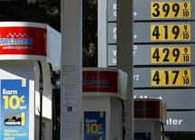 Gas prices are displayed at a petrol kiosk in Dal Mar, California March 1, 2011 file photo. REUTERS/Mike Blake