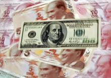 A U.S. 100 dollar banknote is seen on top of 5 and 10 lira banknotes in this illustration picture taken in Istanbul January 28, 2014. REUTERS/Murad Sezer