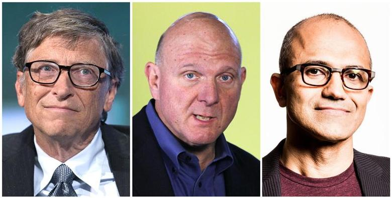 A combination photo shows Microsoft Corp CEOs in its 39-year history - the founder of Microsoft Bill Gates (L), in New York September 24, 2013, then CEO Steve Ballmer (C) in New York October 25, 2012 and Satya Nadella (R), newly named chief executive officer of Microsoft Corp in an undated Microsoft handout photograph released on February 4, 2014. REUTERS/Files (L and C)/Microsoft (R)/Handout via Reuters