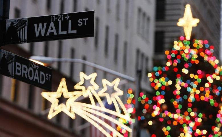 The Wall Street sign is seen in front of Christmas decorations on the first trading day of 2009 outside of the New York Stock Exchange in New York January 2, 2009. REUTERS/Lucas Jackson