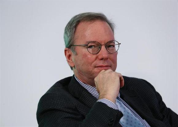Google Executive Chairman Eric Schmidt looks on during a talk titled ''Connecting with the World: Empowering Young Entrepreneurs for the New Digital Age'' at the Chinese University of Hong Kong November 4, 2013. REUTERS/Bobby Yip/Files