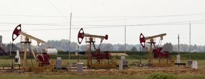 Нефтяные станки-качалки у белорусской деревни Капоровка 12 июня 2013 года. Цены на нефть Brent держатся вблизи $106 за баррель за счет сокращения запасов нефти на распределительном центре в США. REUTERS/Vasily Fedosenko