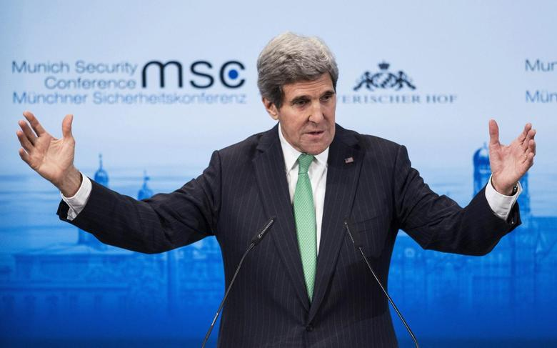 U.S. Secretary of State John Kerry speaks during the Munich Security Conference at the Bayerischer Hof Hotel in Munich February 1, 2014. REUTERS/Brendan Smialowski/Pool