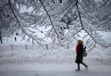Uma mulher anda pela neve no Central Park em Nova York. Os empregadores privados norte-americanos criaram 175.000 vagas em janeiro, próximo às expectativas de analistas, mostrou nesta quarta-feira o relatório de empregos da ADP, uma processadora de folhas de pagamentos. 03/02/2014 REUTERS/Carlo Allegri