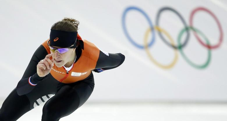 Irene Wust of the Netherlands skates during speedskating practice at the Adler Arena ahead of the 2014 Winter Olympics, February 6, 2014. REUTERS/Marko Djurica