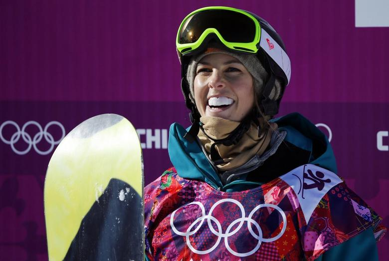 Australia's Torah Bright reacts at the finish line during the women's snowboard slopestyle qualifying session at the 2014 Sochi Olympic Games in Rosa Khutor February 6, 2014. REUTERS/Mike Blake