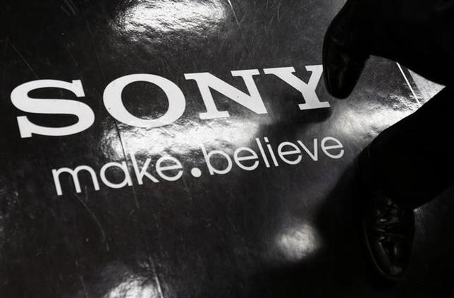 A logo of Sony Corp is seen on the floor of an electronics retail store in Tokyo February 5, 2014. REUTERS/Yuya Shino