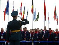 Members of the British Olympic Team attend a welcoming ceremony for the team in the Athletes Village, at the Olympic Park ahead of the 2014 Winter Olympic Games in Sochi February 6, 2014. REUTERS/Laszlo Balogh