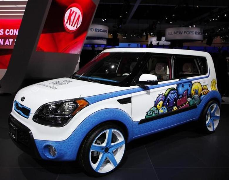 A 2012 Kia Soul, whose design is inspired with ideas from LPGA golfer Michelle Wie, is seen at the LA Auto Show in Los Angeles November 16, 2011. REUTERS/Danny Moloshok