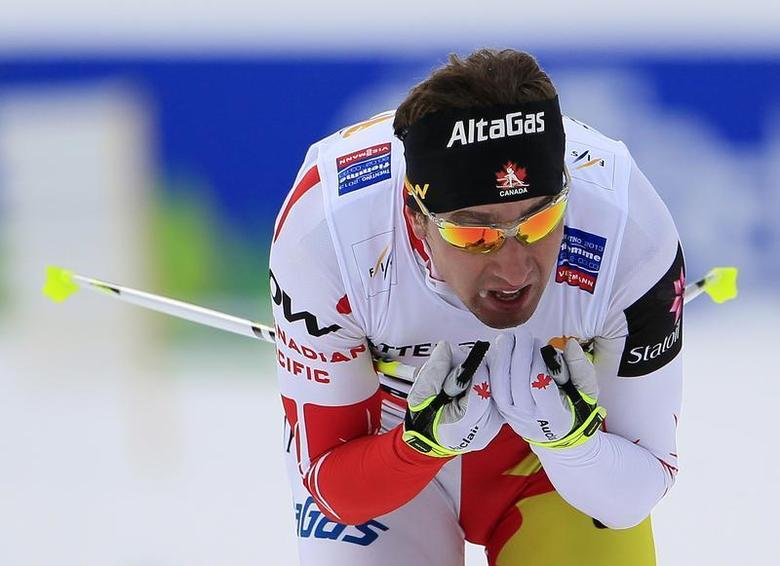 Ivan Babikov of Canada skis during the Cross Country men's 15km Individual Free Technique competition at the Nordic Ski World Championships in the northern mountain resort of Tesero in Val di Fiemme February 27, 2013. REUTERS/Yves Herman