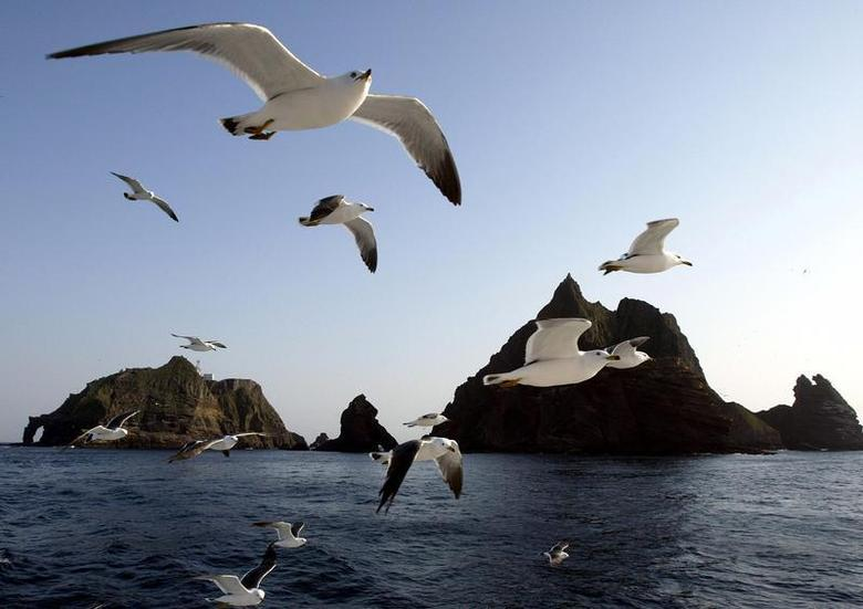 Seagulls soar in the sky near Liancourt Rocks, April 21, 2005. The islets are located in disputed waters referred to as the Sea of Japan and the East Sea. REUTERS/Lee Jae-Won