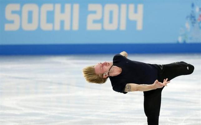 Evgeni Plushenko of Russia skates during a figure skating training session in preparation for the 2014 Sochi Winter Olympics at the Iceberg Skating Palace, February 5, 2014. REUTERS/Lucy Nicholson