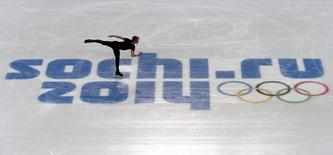 Evgeni Plushenko of Russia skates during a figure skating training session at the Iceberg Skating Palace in preparation for the 2014 Sochi Winter Olympics February 5, 2014. REUTERS/David Gray