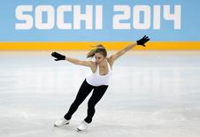 Ashley Wagner of the U.S. skates during a figure skating training sesssion in preparation for the 2014 Sochi Winter Olympics at the Iceberg Skating Palace, February 5, 2014. REUTERS/Lucy Nicholson