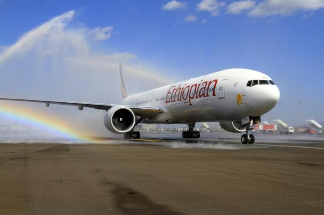 Ethiopian Airlines' newly acquired Boeing 777-300ER aircraft, with a seating capacity of 400 passengers, arrives at the Bole International Airport in Capital Addis Ababa November 8, 2013. REUTERS/Tiksa Negeri