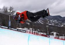 Jan 16, 2014; Stoneham-et-Tewkesbury, Quebec, Canada; Crispin Lipscomb (CAN) during the half pipe men's qualifications at the FIS World Championships at Stoneham Mountain Resort. Jean-Yves Ahern-USA TODAY Sports