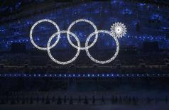 Participants march by as one of the Olympic Rings fails to completely illuminate during the opening ceremony of the 2014 Sochi Winter Olympics, February 7, 2014. REUTERS/Phil Noble