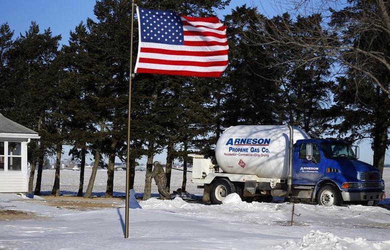 Arenson Oil and Propane delivery driver Don Bedford pulls the hose to fill up empty propane tanks in Sandwich, Illinois January 29, 2014. REUTERS/Jeff Haynes
