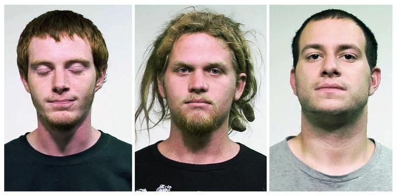 Brian Church (L), 20, Brent Vincent Betterly (C), 24 and Jared Chase, 24, are seen in these handout photos from the Chicago Police department released to Reuters May 19, 2012. REUTERS/Chicago Police/Handout