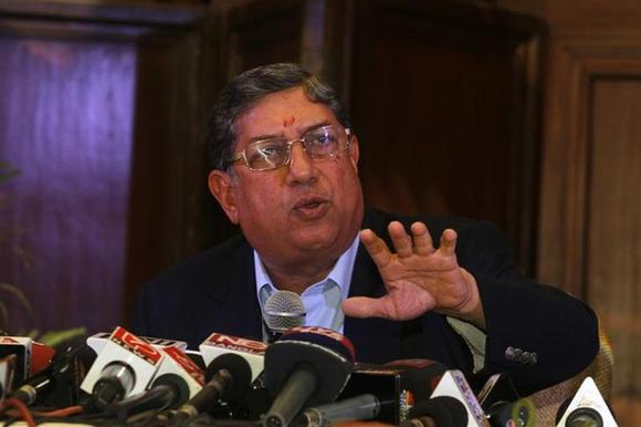 BCCI president N. Srinivasan speaks to the media during a news conference in Kolkata May 26, 2013. REUTERS/Rupak De Chowdhuri/Files