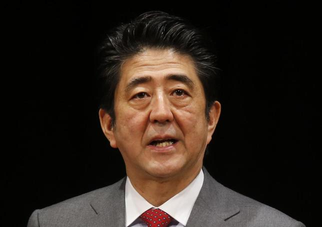 Japan's Prime Minister Shinzo Abe speaks during a Northern Territories Day rally in Tokyo February 7, 2014. REUTERS/Yuya Shino