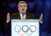 International Olympic Committee President Thomas Bach speaks during the opening ceremony of the 2014 Sochi Winter Olympics, February 7, 2014. REUTERS/Jung Yeon-Je/Pool