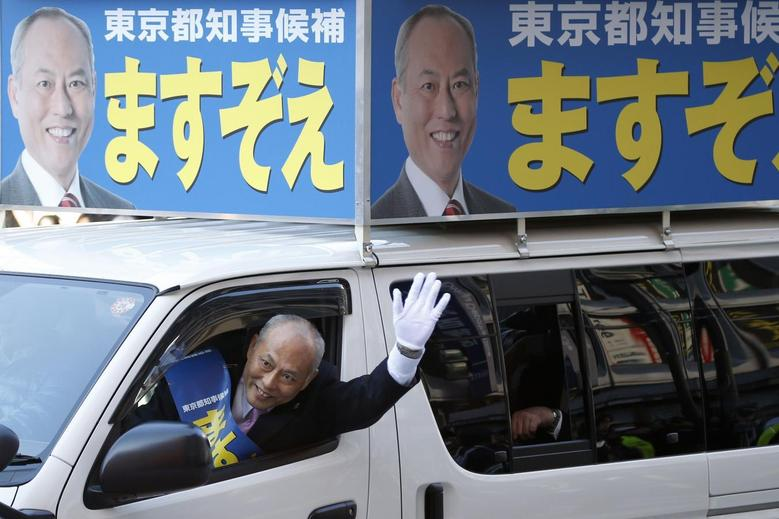 Japan's former health minister and candidate of Tokyo gubernatorial election Yoichi Masuzoe waves to voters from a van, while campaigning for the February 9 vote in Tokyo January 23, 2014. REUTERS/Toru Hanai