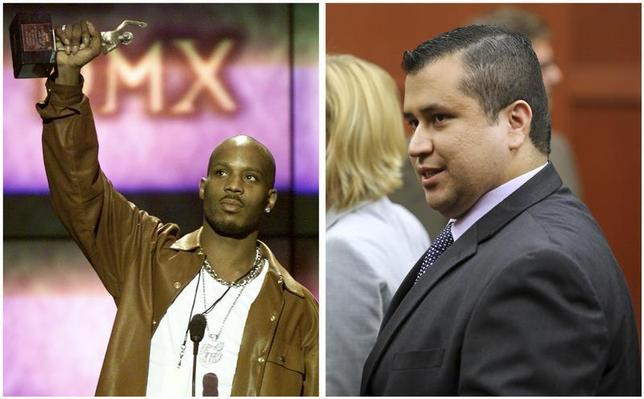 A combination photo shows rapper DMX (L) at the 14th annual Soul Train Music Awards in Los Angeles, California on March 4, 2000 and George Zimmerman (R) leaves the courtroom a free man after being found not guilty in the 2012 shooting death of Trayvon Martin at the Seminole County Criminal Justice Center in Sanford, Florida on July 13, 2013. REUTERS/Gary Hershorn/Files (L) and REUTERS/Joe Burbank/Pool/Files