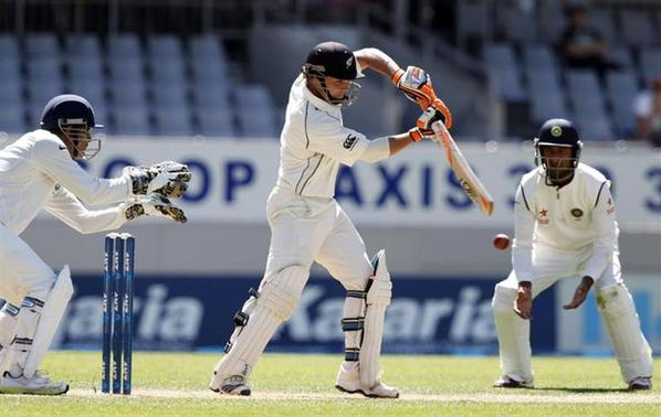 New Zealand's BJ Watling plays a shot on day three of the first international test cricket match against India at Eden Park in Auckland, February 8, 2014. REUTERS/Nigel Marple