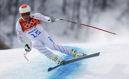 Bode Miller of the U.S. skis in the men's alpine skiing downhill race during the 2014 Sochi Winter Olympics at the Rosa Khutor Alpine Center February 9, 2014. REUTERS/Dominic Ebenbichler