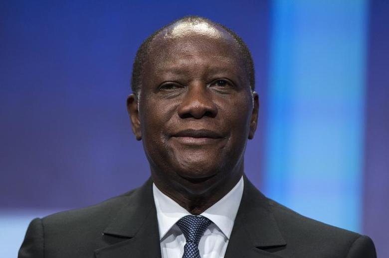 President of Ivory Coast Alassane Ouattara sits on stage in support of a commitment to stop poaching of African elephants announced at the Clinton Global Initiative (CGI) in New York September 26, 2013. REUTERS/Lucas Jackson