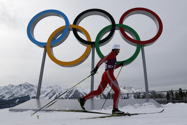 Dachhiri Dawa Sherpa of Nepal takes part in a cross-country training session for the 2014 Sochi Winter Olympic Games at the ''Laura'' cross-country and biathlon centre in Rosa Khutor February 9, 2014. REUTERS/Stefan Wermuth