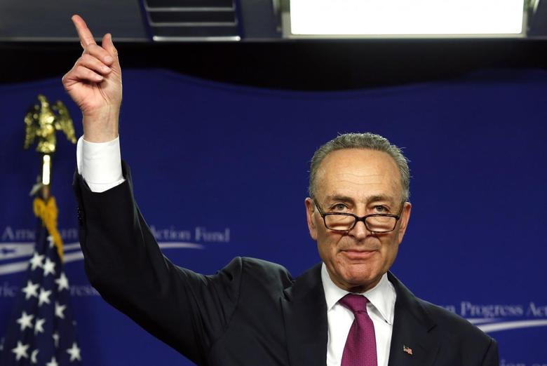 Sen. Charles Schumer (D-NY) delivers remarks about the Rise of the Tea Party and How Progressives Can Fight Back at the Center for American Progress Action Fund in Washington January 23, 2014. REUTERS/Yuri Gripas