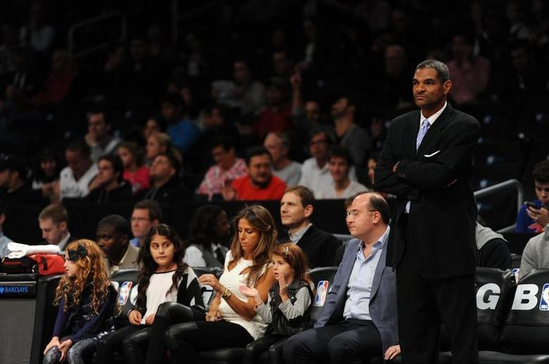 Oct 12, 2013; Brooklyn, NY, USA; Detroit Pistons head coach Maurice Cheeks looks on against the Brooklyn Nets during the first half of the preseason game at Barclays Center. Mandatory Credit: Joe Camporeale-USA TODAY Sports - RTX149AC