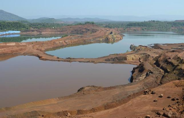 A general view shows the open pit of an iron ore mine in Codli village in Goa December 9, 2013. REUTERS/Krishna Das/Files