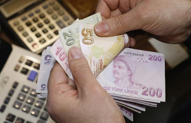 A money changer counts Turkish lira bills at a currency exchange office in Istanbul January 24, 2014. REUTERS/Murad Sezer