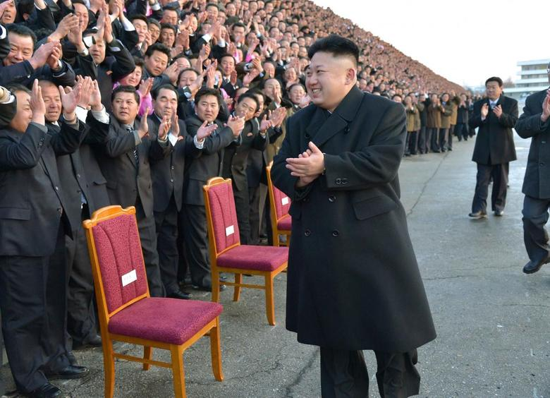 North Korean leader Kim Jong Un visits participants of a national agriculture competition in this undated photo released by North Korea's Korean Central News Agency (KCNA) February 10, 2014. REUTERS/KCNA