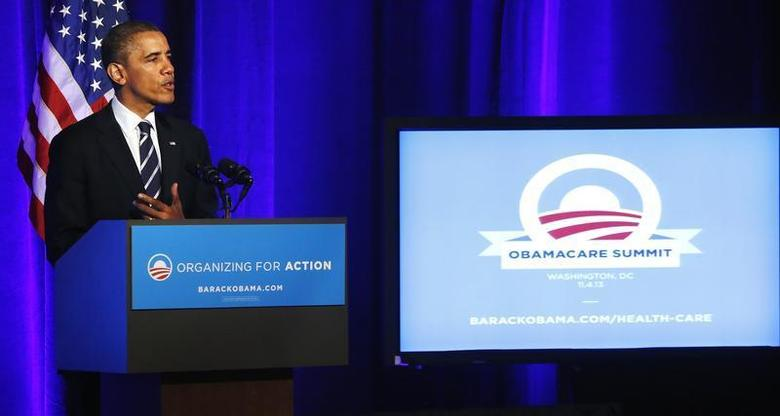 U.S. President Barack Obama delivers remarks on the Affordable Care Act, commonly known as Obamacare, at an Organizing for Action grassroots supporter event in Washington, November 4, 2013. REUTERS/Jonathan Ernst