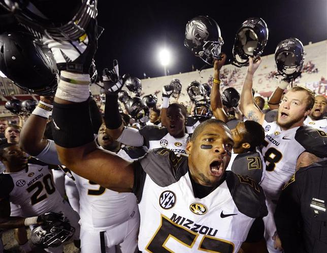 Missouri Tigers defensive lineman Michael Sam (52) reacts after the game at Memorial Stadium after Missouri defeated Indiana 45-28 in Bloomington, Indiana in this file photo from September 21, 2013. Denny Medley-USA TODAY Sports