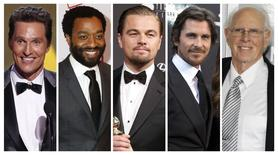 Nominees for the Academy Awards best actor category Matthew McConaughey, Chiwetel Ejiofor, Leonardo DiCaprio, Christian Bale and Bruce Dern (L-R) appear in a combination photo. REUTERS/Files
