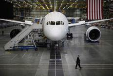 A Boeing 787 Dreamliner is seen under construction at the Boeing facility in Everett, Washington in this February 17, 2012 file photo. REUTERS/Jason Reed/Files
