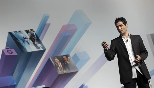 Viber's Founder and CEO Marco Talmon gestures during a news conference at the Mobile World Congress in Barcelona February 26, 2013. REUTERS/Albert Gea