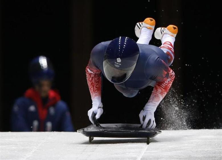 Britain's Kristan Bromley starts an unofficial men's skeleton progressive training at the Sanki sliding center in Rosa Khutor, a venue for the Sochi 2014 Winter Olympics near Sochi, February 5, 2014. REUTERS/Murad Sezer