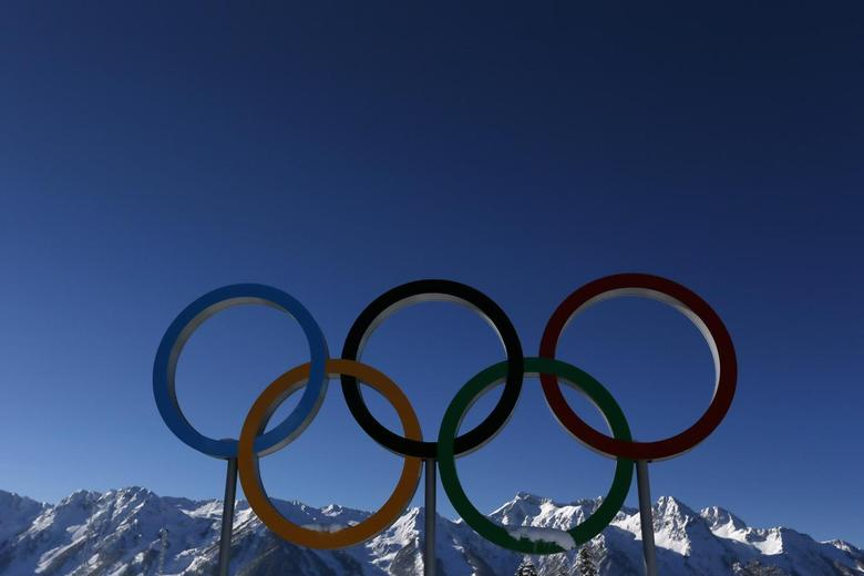 The Olympic rings are seen during a training session for the 2014 Sochi Winter Olympic Games at the ''Laura'' cross-country and biathlon centre in Rosa Khutor February 3, 2014. REUTERS/Stefan Wermuth