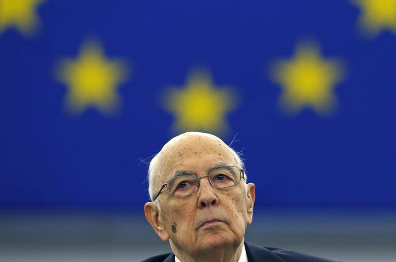 Italian President Giorgio Napolitano attends a debate at the European Parliament ahead of his address to the assembly in Strasbourg, February 4, 2014. REUTERS/Vincent Kessler