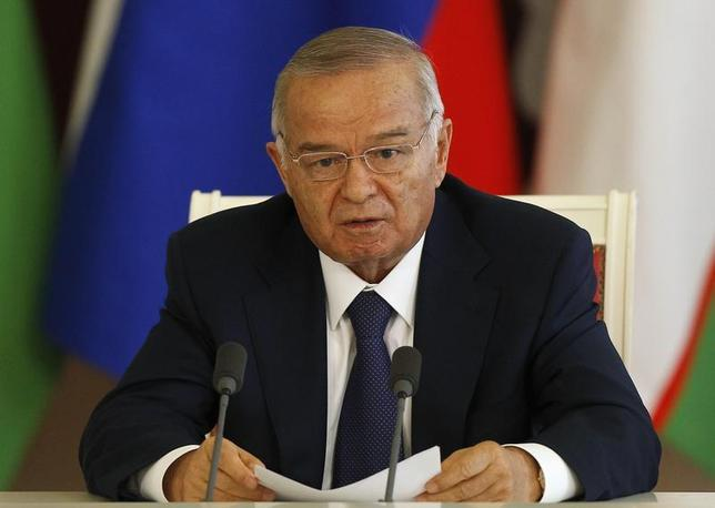Uzbekistan's President Islam Karimov makes a statement after talks with his Russian counterpart Vladimir Putin at the Kremlin in Moscow, April 15, 2013 file photo. REUTERS/Grigory Dukor