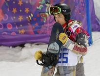Shaun White of the U.S. reacts after the men's snowboard halfpipe final at the 2014 Sochi Winter Olympic Games, in Rosa Khutor February 11, 2014. REUTERS/Mike Blake