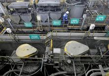 Mineral de cobre, zinc y plomo en una planta de refinación en Chincha, Perú, feb 19 2008. La producción de cobre de Perú, un importante proveedor mundial de metales, creció un 5,9 por ciento el año pasado, pero la de oro se redujo un 6,2 por ciento, dijo el miércoles el Gobierno. REUTERS/Mariana Bazo