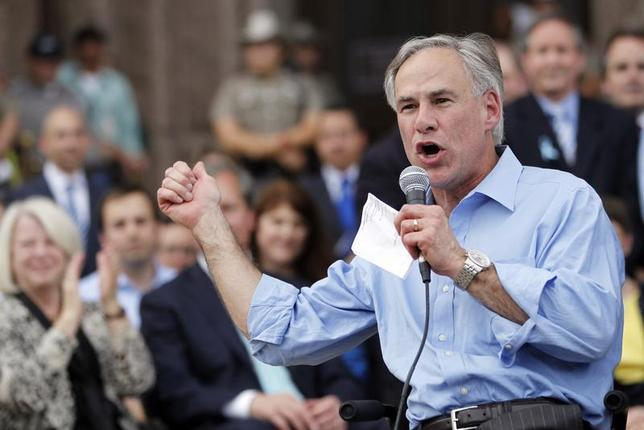 Texas Attorney General Greg Abbott speaks during an anti-abortion rally at the State Capitol in Austin, Texas, July 8, 2013 file photo. REUTERS/Mike Stone