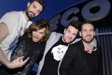 (From L to R) Members of the British electro-pop band Bastille, Kyle Simmons, Chris 'Woody' Wood, Dan Smith and Will Farquarson, pose for pictures at Capitol Studios in Los Angeles December 5, 2013. REUTERS/Phil McCarten